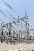 Electricity transmission yard Stock Photos