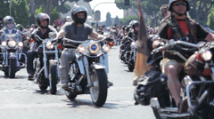 Harley Davidson Motorcycle Bikers Parade in Rome,colosseum - stock footage