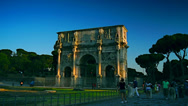 Stock Video Footage of Rome,July 10,2012, Traffic and rush hour of Arch of Constantine at the Colosseum