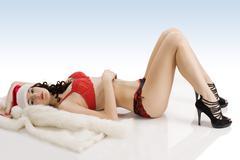 sexy christmas girl laying - stock photo