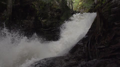 Nature, BX falls spring runoff slo mo pan down Stock Footage