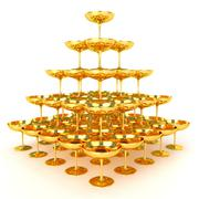 Pyramid of Golden Glasses Stock Illustration