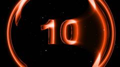 HD Countdown 10 sec orange sphere Stock Footage