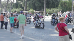 Harley Davidson Motorcycle Bikers Parade in Rome,anniversary - stock footage