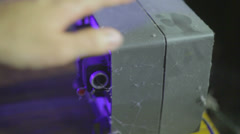 Dusting off dust projector old Stock Footage