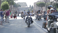 Stock Video Footage of Harley Davidson Motorcycle Bikers Parade  in Rome,anniversary
