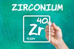 Symbol for the chemical element zirconium Stock Photos