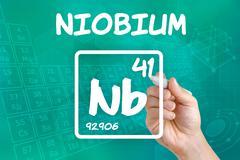 Symbol for the chemical element niobium Stock Photos