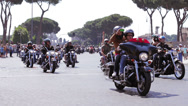 Stock Video Footage of Harley Davidson Motorcycle Bikers Parade  in Rome,110th anniversary