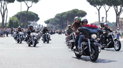 Harley Davidson Motorcycle Bikers Parade in Rome,colosseum Stock Footage