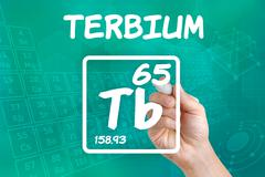 symbol for the chemical element terbium - stock photo