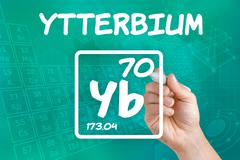 symbol for the chemical element ytterbium - stock photo
