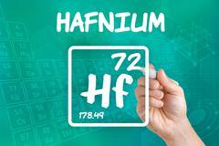 Symbol for the chemical element hafnium Stock Photos