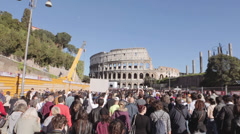 Demonstration in Rome city center: crowd, colosseo, walking people, march Stock Footage
