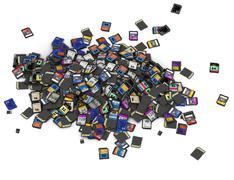 Heap of SD and microSD memory cards - stock photo