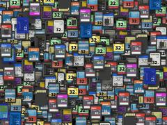 Many of different SD and microSD memory cards Stock Photos