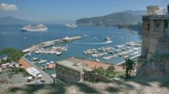 Jetfoil Leaving harbor Marina Piccola Sorrento Italy - 29,97FPS NTSC Stock Footage