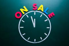 Time for on sale concept Stock Photos