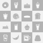 bakery and drinks elements for coffee shop - stock illustration