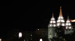 Salt Lake City LDS Temple Mormon Night Stock Footage