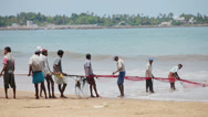 Stock Video Footage of hikkaduwa, sri lanka - apr 26: local fishermen pull net from the ocean on apr