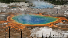 Grand Prismatic Spring Yellowstone National Park, Wyoming - stock footage