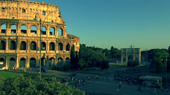 Rome,July 10,2012, Traffic and rush hour at the Colosseum Stock Footage