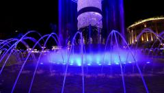 Abstract lit water fountain background of dancing forms. Stock Footage