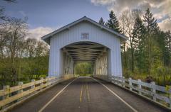 USA, Oregon, Linn County, Larwood Bridge Stock Photos
