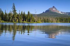Stock Photo of USA, Oregon, Big Lake and Mt. Washington
