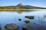 Stock Photo of USA, Oregon, Big Lake and Mt. Washington
