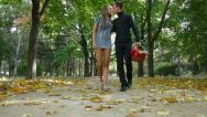 Stock Video Footage of Young Couple Carrying Picnic Basket in Autumn Park