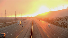 Time Lapse of Traffic on Highway with Fire Smoke Sunset - stock footage