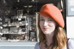 France, Pas-de-Calais, Escalles, Portrait of young woman in red beret Stock Photos