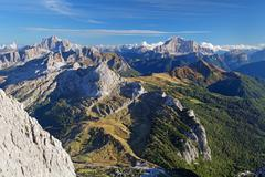 mountain sunset panorama landscape - in italy alps - dolomites - stock photo