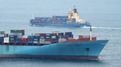 Cargo Container Ships Passing Stock Footage