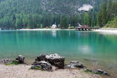Lake in italy mountain -  lago di braies in alps mountains Stock Photos