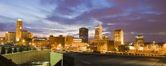 Stock Photo of USA, Ohio, Akron, Cityscape at dusk