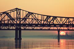 Yhdysvallat, Kentucky, Louisville, Sunrise Ohio River Kuvituskuvat