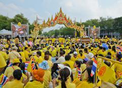 Thai people gather on Thai king's birthday Stock Photos