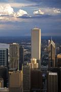 USA, Illinois, Chicago, AON Center, Aqua Building and Prudential Building in Stock Photos