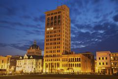 Stock Photo of USA, Kentucky, Lexington, Courthouse illuminated at dusk