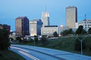 Stock Photo of USA, Ohio, Akron, Skyline at dusk