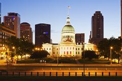 USA, Missouri, St Louis, Old courthouse at night - stock photo