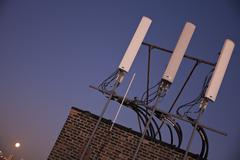 USA, Illinois, Chicago, Rooftop with antenna Stock Photos