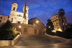 Spanish Steps and Trinita dei Monti Church in early morning - stock photo