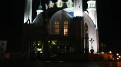 Kul sharif mosque at night in kazan russia Stock Footage
