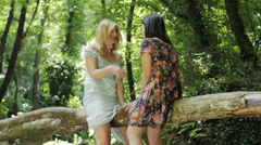 Two girl friends laughing and talking in the park Stock Footage