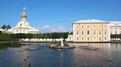 Ornate dome in petergof park - saint-petersburg Russia Stock Footage