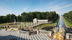 Famous petergof fountains in St. Petersburg Russia Stock Footage